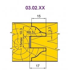 Фрези для стояків і перемичок фільончастих дверних полотен 03.02.ХХ
