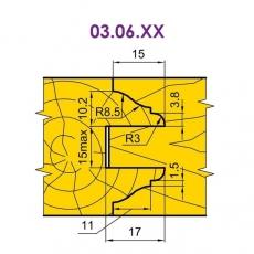 Фрези для стояків і перемичок фільончастих дверних полотен 03.06.ХХ