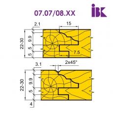 Комплект насадних фрез для виробництва меблевих фасадів 07.07/08.XX